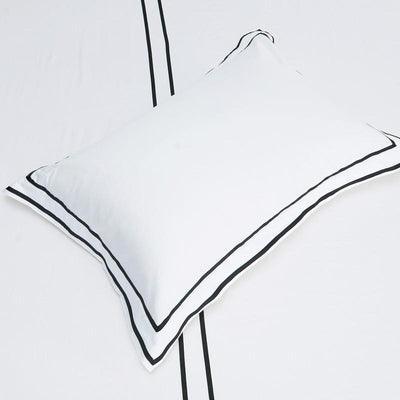 Hotelier Prestigio™ Black Grosgrain Border Pillow Case - Bedding Affairs