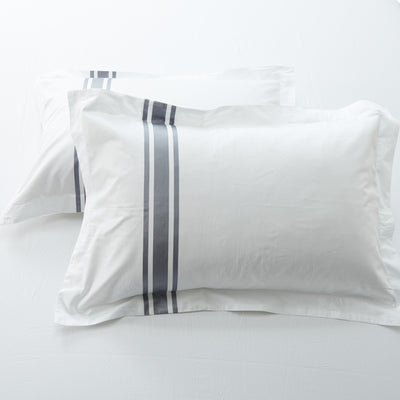 Hotelier Prestigio™ Luxury White Greyish Stripe Pillow Case - Bedding Affairs