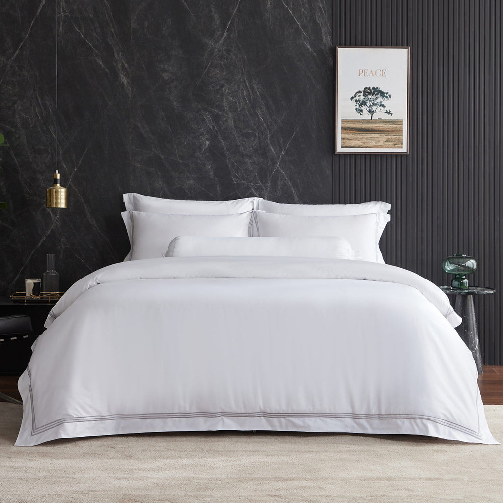 Hotelier Prestigio™ Lucent White With Grey Border Fitted Sheet Set - Bedding Affairs