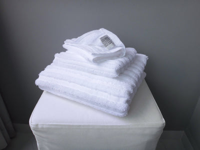 Hotelier Prestigio™ Stripe White Towel Collection - 3 Pcs Set