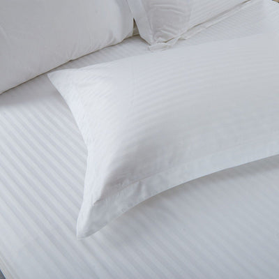 Hotelier Prestigio™ White Sateen Stripe Pillow Case Pillow & Bolster Case Hotelier Prestigio™