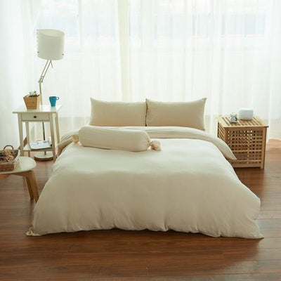 Cotton Pure™ Milky Beige Jersey Cotton Quilt Cover - Bedding Affairs