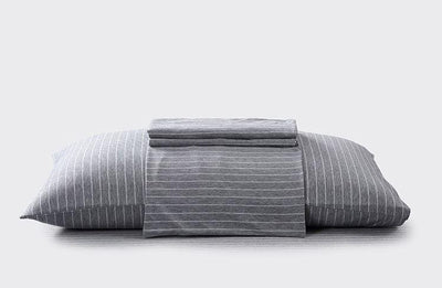 Cotton Pure™ Greyish Stripe Jersey Cotton Fitted Sheet Set - Bedding Affairs