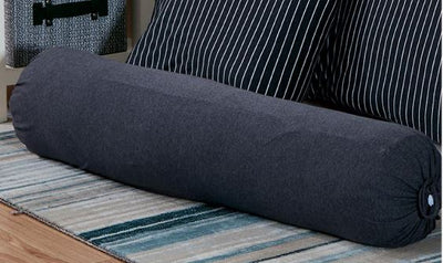 Cotton Pure™ Classic Black Solid Knitted Cotton Bolster Case - Bedding Affairs