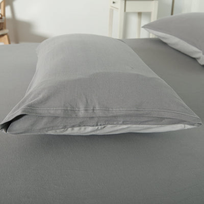 Cotton Pure™ Ash Grey Knitted Cotton Pillow Case - Bedding Affairs