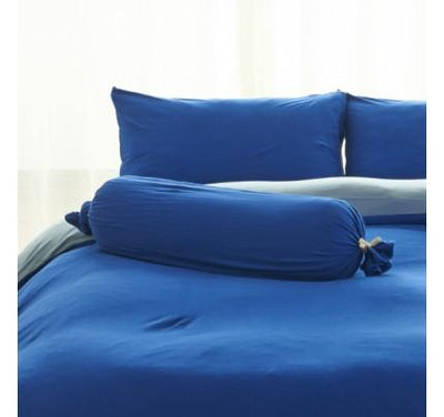 Cotton Pure™ Klein Blue Knitted Cotton Bolster Case - Bedding Affairs