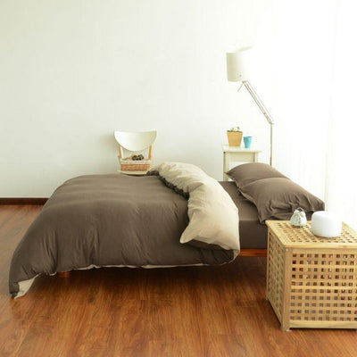 Cotton Pure™ Coyote Brown Stripe Jersey Cotton Quilt Cover - Bedding Affairs