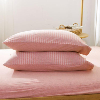 Cotton Pure™ Pinky Stripe Knitted Cotton Fitted Sheet Set - Bedding Affairs
