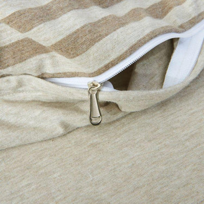Cotton Pure™ Brownie Beige Stripe Knitted Cotton Quilt Cover - Bedding Affairs