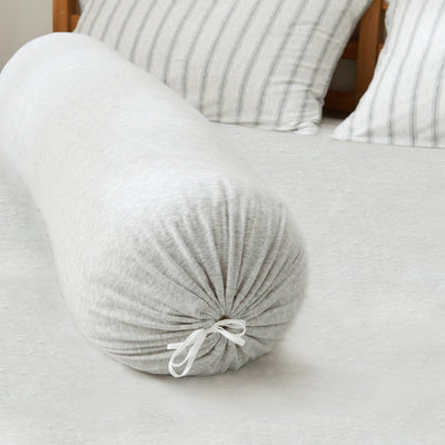Cotton Pure™ Menatee Grey Stripe Knitted Cotton Bolster Case