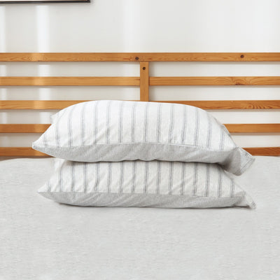 Cotton Pure™ Menatee Grey Stripe Jersey Cotton Pillow Case - Bedding Affairs