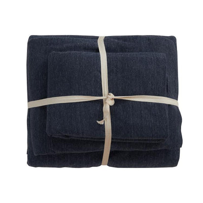 Cotton Pure™ Prussian Blue Jersey Cotton Fitted Sheet Set - Bedding Affairs