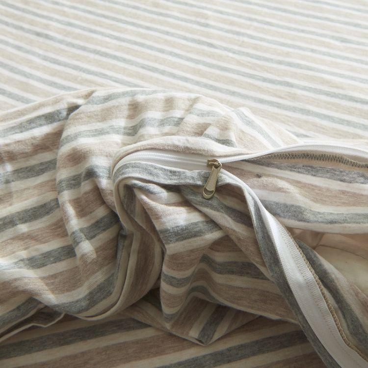 Cotton Pure™ Brown Blue Stripes Jersey Cotton Quilt Cover - Bedding Affairs