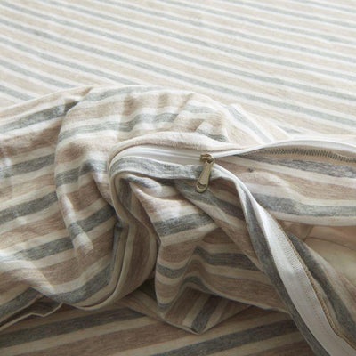 Cotton Pure™ Brown Blue Stripes Knitted Cotton Quilt Cover Quilt Cover Cotton Pure™