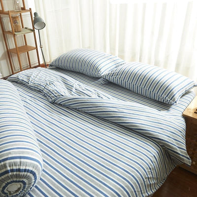 Cotton Pure™ Grey Blue Stripes Knitted Cotton Quilt Cover - Bedding Affairs