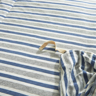 Cotton Pure™ Grey Blue Stripes Jersey Cotton Quilt Cover - Bedding Affairs