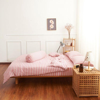 Cotton Pure™ Pink Grey Stripes Knitted Cotton Quilt Cover - Bedding Affairs