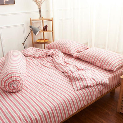 Cotton Pure™ Pink Grey Stripes Knitted Cotton Quilt Cover