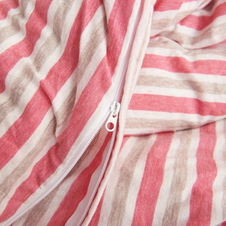 Cotton Pure™ Pink Grey Stripes Jersey Cotton Quilt Cover - Bedding Affairs