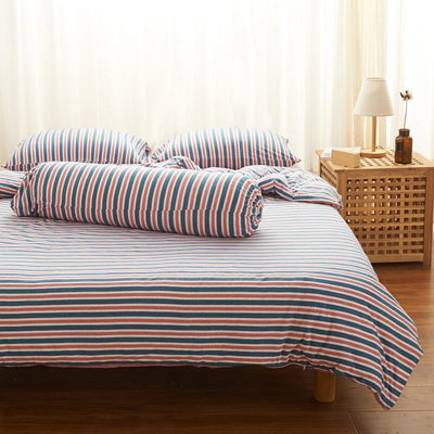 Cotton Pure™ Blue Pink Stripes Knitted Cotton Bundle Bed Set - Bedding Affairs