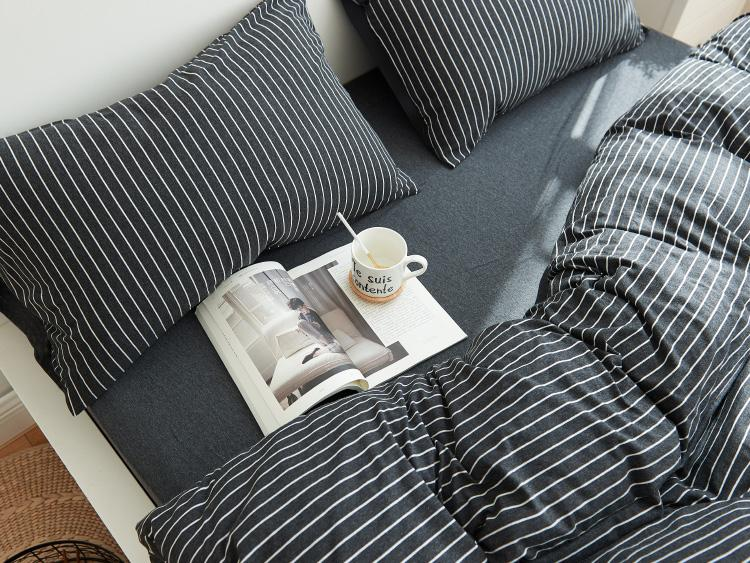 Cotton Pure™ Classic Black Stripe Jersey Cotton Fitted Sheet Set - Bedding Affairs