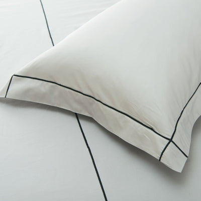 Hotelier Prestigio™ Cliff Grey Base With Black Embroidery Pillow Case - Bedding Affairs