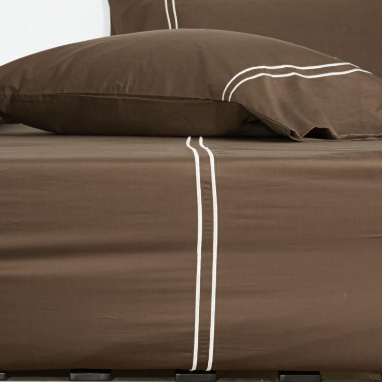 Hotelier Prestigio™ Brownie Beige Embroidery Pillow Case - Bedding Affairs