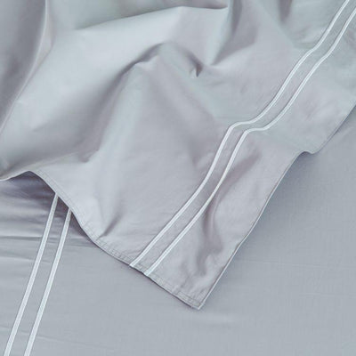 Hotelier Prestigio™ Grey Silver Embroidery Pillow Case - Bedding Affairs