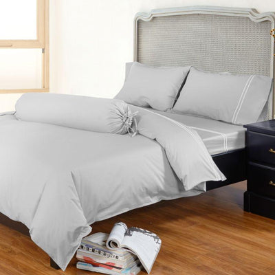 Hotelier Prestigio™ Grey Silver Embroidery Quilt Cover - Bedding Affairs