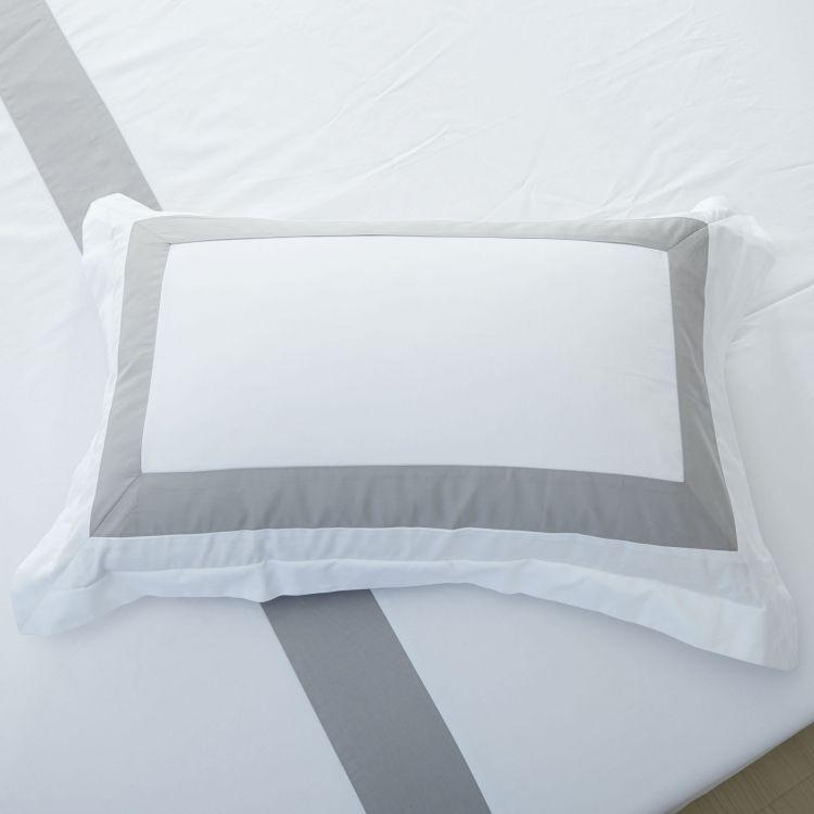 Hotelier Prestigio™ Luxury White Base Grey Border Pillow Case - Bedding Affairs