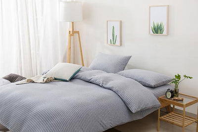 Cotton Pure™ Greyish Stripe Knitted Cotton Quilt Cover - Bedding Affairs