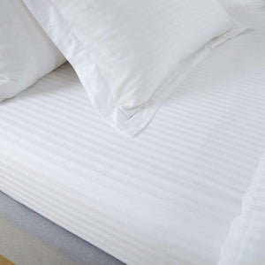 Hotelier Prestigio™ White Sateen Stripe Fitted Sheet