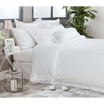 Hotelier Prestigio™ White Sateen Stripe Pillow Case - Bedding Affairs