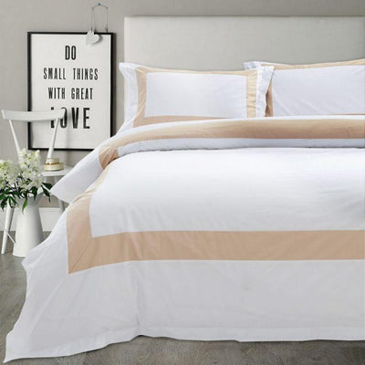 Hotelier Prestigio™ Luxury White Base Champagne Border Fitted Sheet Set - Bedding Affairs