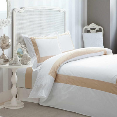 Hotelier Prestigio™ Luxury White Base Champagne Quilt Cover - Bedding Affairs