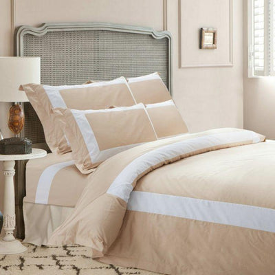 Hotelier Prestigio™ Luxury Champagne Base White Border Quilt Cover - Bedding Affairs