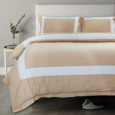 Hotelier Prestigio™ Luxury Champagne Base White Border Bolster Case - Bedding Affairs