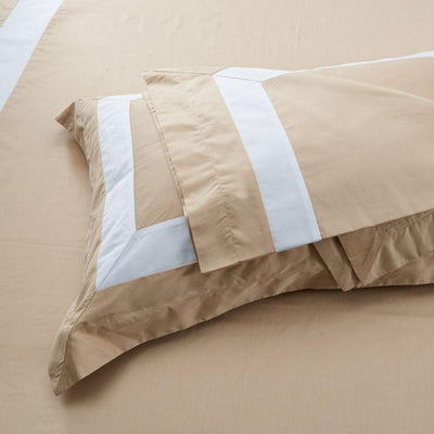 Hotelier Prestigio™ Luxury Champagne Base White Border Pillow Case Pillow & Bolster Case Hotelier Prestigio™
