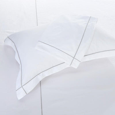 Hotelier Prestigio™ Silver Check Embroidery Fitted Sheet