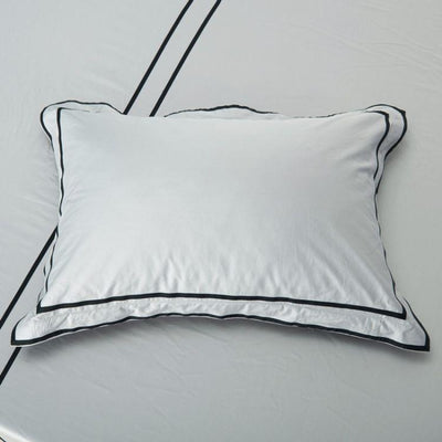 Hotelier Prestigio™ Cliff Grey Black Grosgrain Pillow Case - Bedding Affairs
