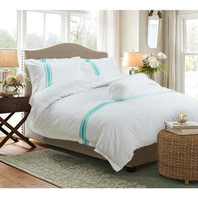 Hotelier Prestigio™ Luxury White Turquoise Stripe Quilt Cover - Bedding Affairs