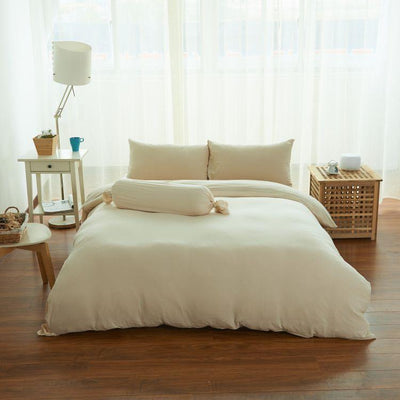 Cotton Pure™ Milky Beige Knitted Cotton Quilt Cover