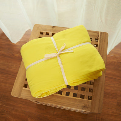 Cotton Pure™ Lemon Yellow Jersey Cotton Quilt Cover - Bedding Affairs