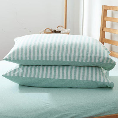 Cotton Pure™ Pale Green Stripe Knitted Cotton Fitted Sheet Set - Bedding Affairs