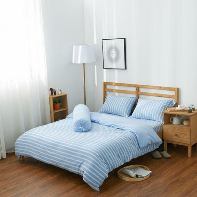 Cotton Pure™ Sky Blue Stripe Knitted Cotton Bolster Case - Bedding Affairs