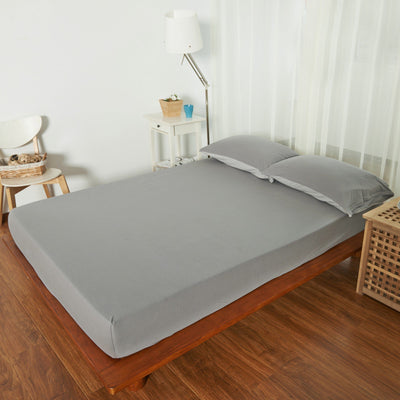 Cotton Pure™ Ash Grey Knitted Cotton Fitted Sheet - Bedding Affairs