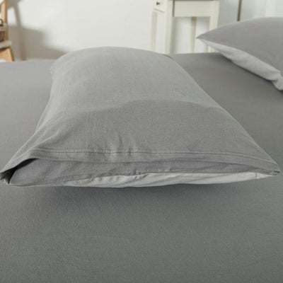 Cotton Pure™ Ash Grey Knitted Cotton Quilt Cover - Bedding Affairs
