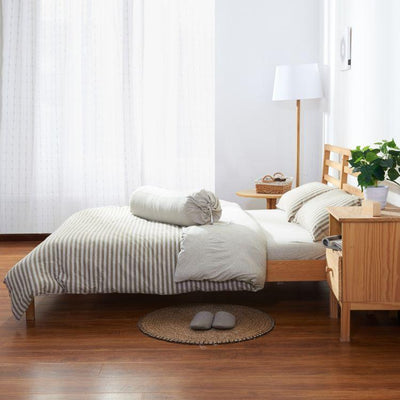 Cotton Pure™ Brownie Beige Stripe Jersey Cotton Pillow Case - Bedding Affairs