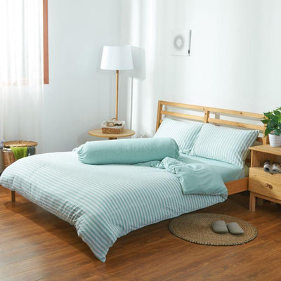 Cotton Pure™ Pale Green Stripe Jersey Cotton Bolster Case - Bedding Affairs