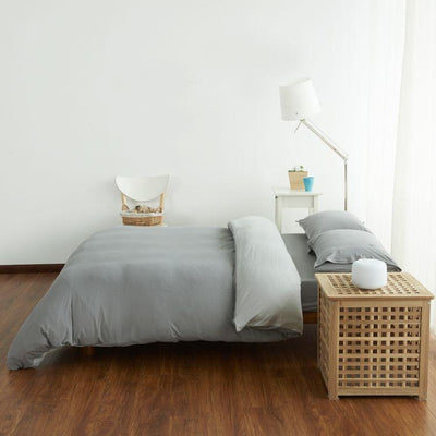 Cotton Pure™ Ash Grey Jersey Cotton Quilt Cover - Bedding Affairs